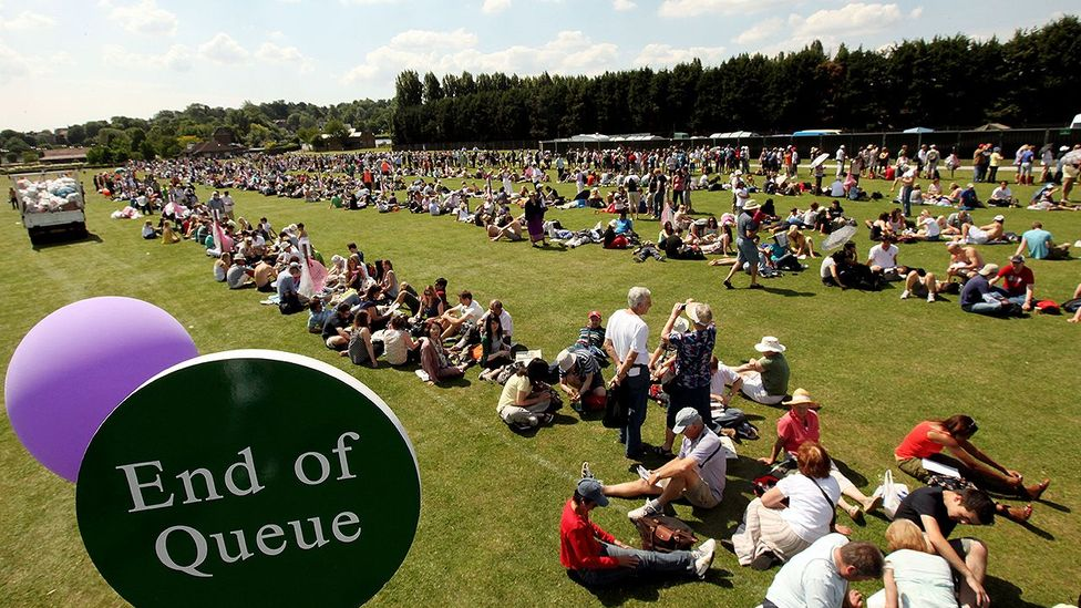 The process of queuing for Wimbledon Lawn Tennis Championships tickets in South London has rules and regulations around behaviour and overnight camping. (Credit: Getty Images)
