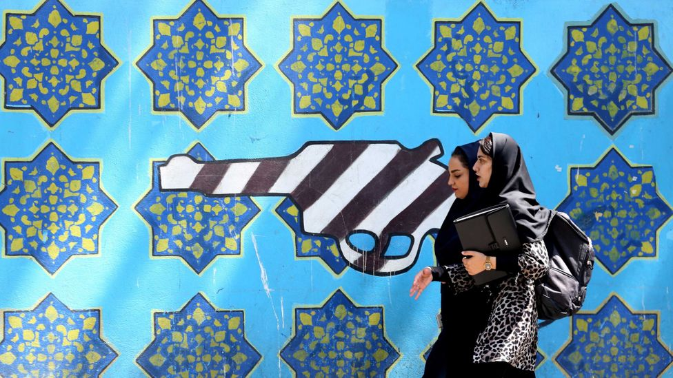 A mural outside the former US embassy building in Tehran, Iran (Credit: Getty Images)