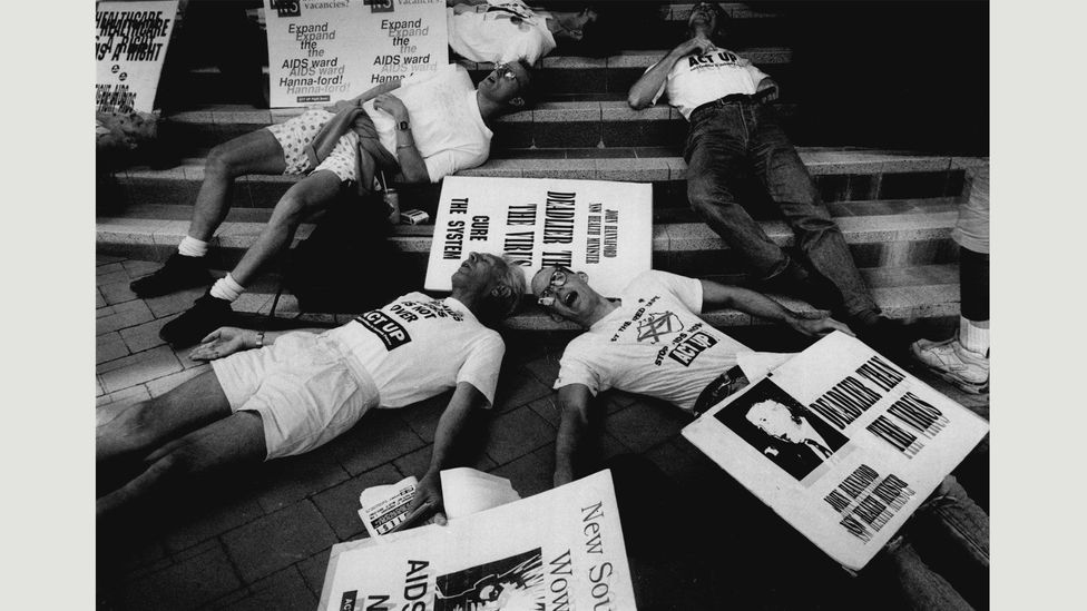 Act Up organised a 'die-in' in 1992, protesting over the lack of beds for Aids patients in hospital wards (Credit: Kate Callas/Fairfax Media via Getty Images)