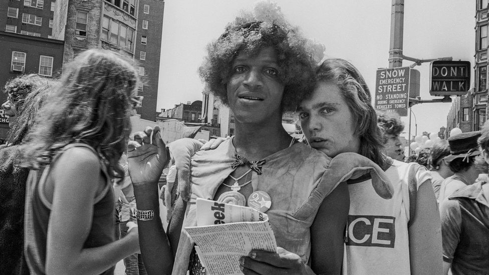 Marsha P Johnson and friend, Christopher Street Liberation Day, NYC, 1976 (Credit: Biscayne/Kim Peterson)