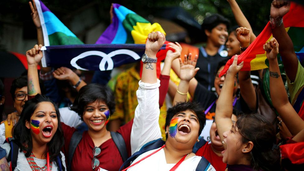 Celebrations as homosexuality is decriminalised in India in 2018 (Credit: Piyal Adhikary/EPA-EFE/Shutterstock)