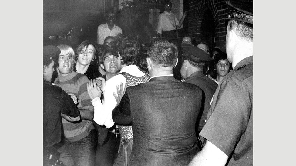 After police raided the Stonewall Inn, rioting broke out next to the gay bar during the early hours of 28 June 1969 (Credit: NY Daily News Archive via Getty Images)