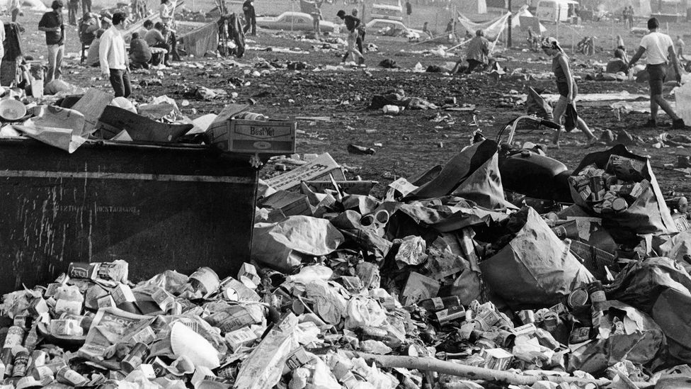 Some of the rubbish left at Woodstock in 1970 can still be found on the site today (Credit: Getty Images)