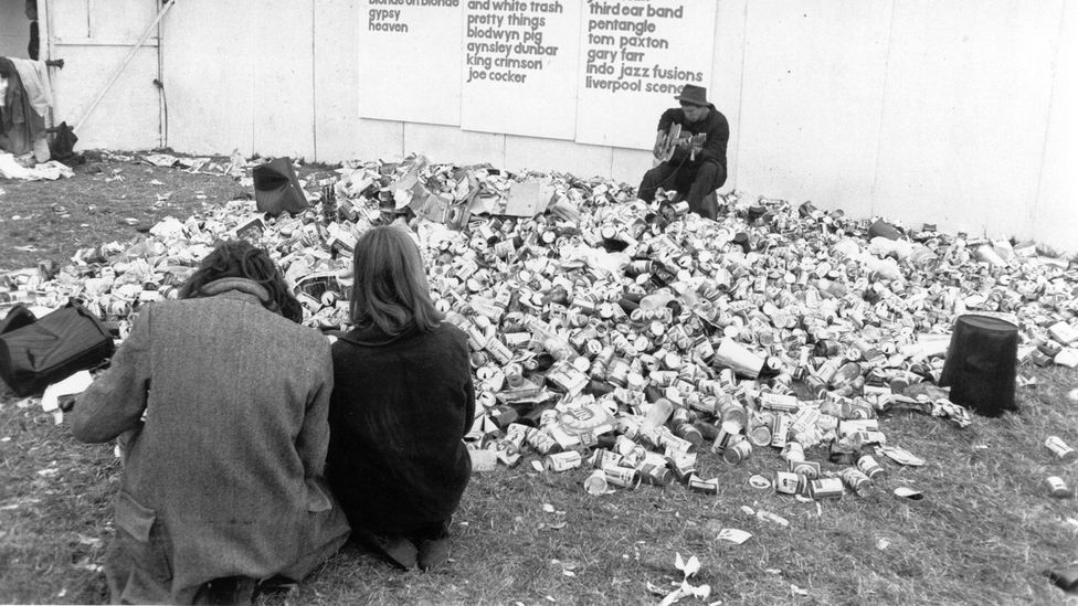 Early music festivals, like the Isle of Wight Festival, had to deal with far less plastic waste (Credit: Getty Images)