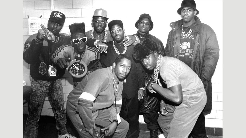 Public Enemy are still performing today – although one original member, Terminator X, retired in 1998 to breed ostriches on a farm in North Carolina (Credit: Alamy)