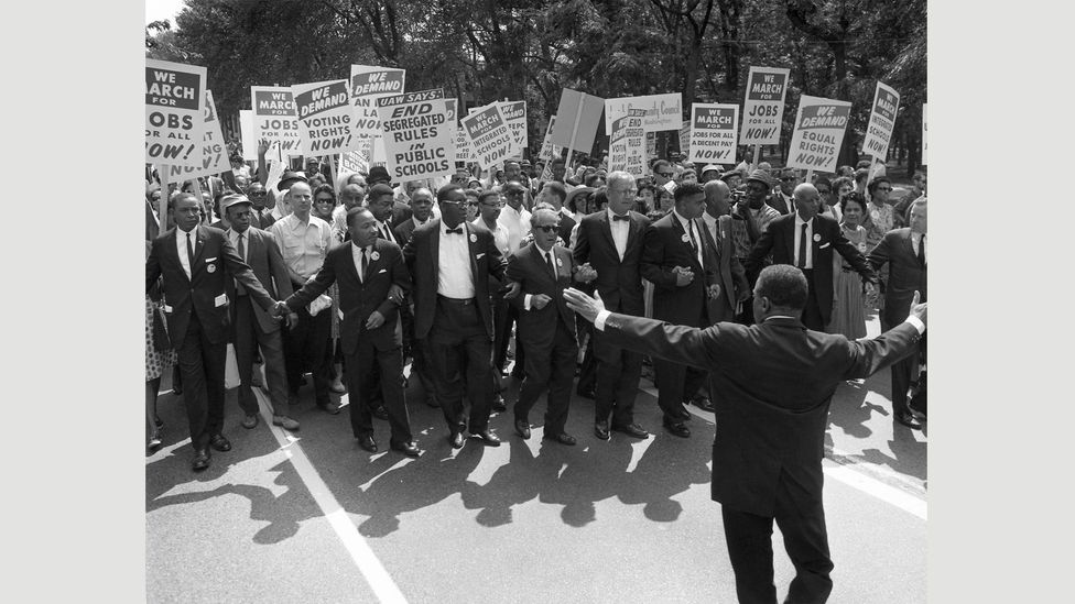 Martin Luther King, Jr and other civil rights leaders at the head of the March on Washington for Jobs and Freedom on August 28, 1963 (Credit: Alamy)