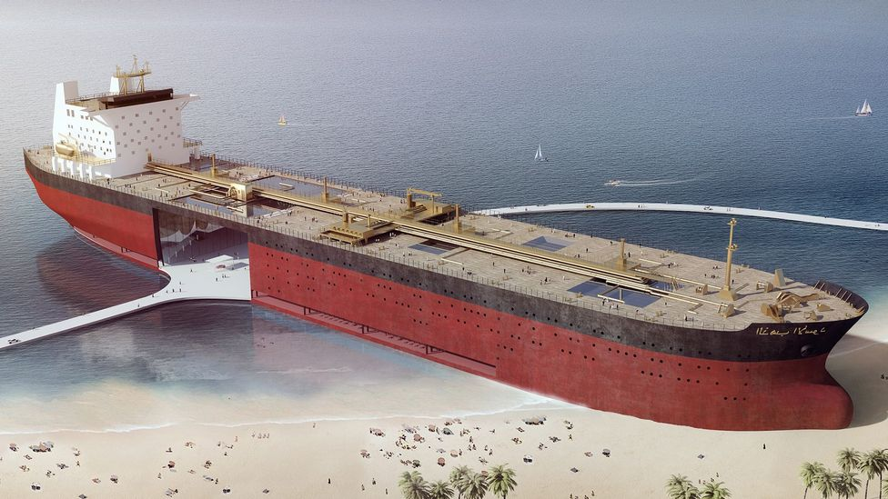 Their vast size could allow supertankers to be turned into iconic shoreside public buildings (Credit: Chris Collaris Design)