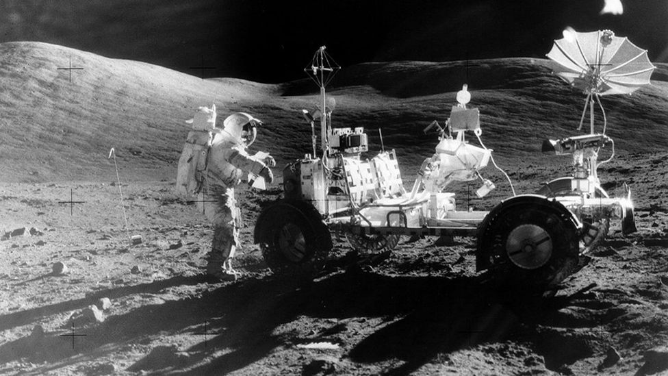 On foot and by rover, the Apollo astronauts covered some 60 miles of the lunar surface (Credit: Nasa)