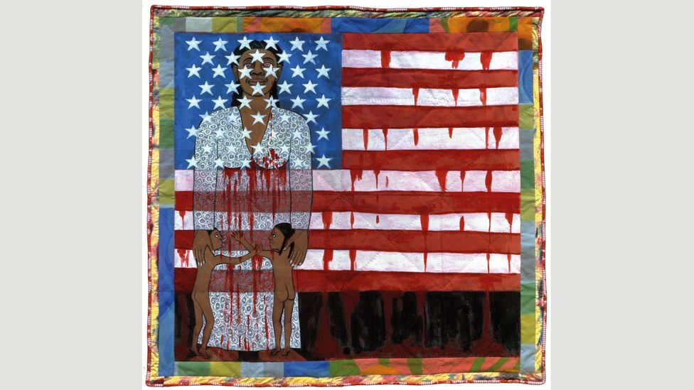 The Flag is Bleeding #2 (American Collection #6) by Faith Ringgold, 1997 (Credit: 2018 Faith Ringgold/Artists Rights Society (ARS), New York, Courtesy Pippy Houldsworth Gallery)