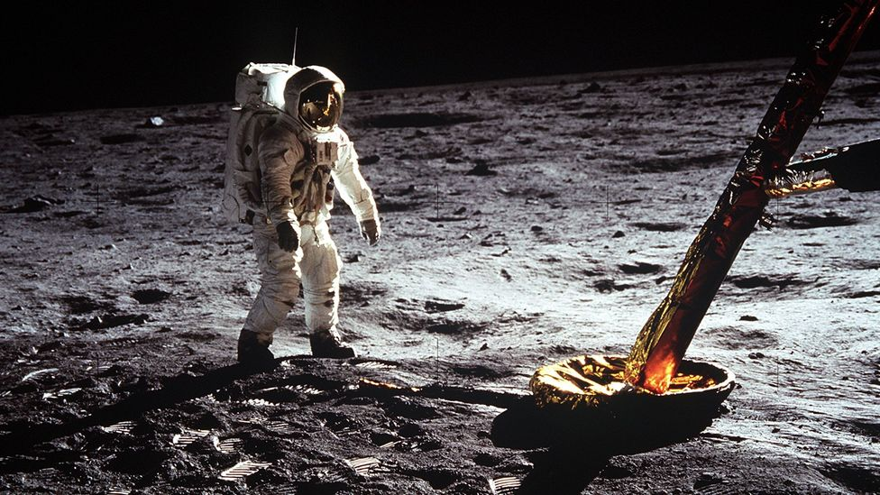 The Apollo 11 astronauts journeyed to the Moon with the aid of a computer with as much memory as a 1980s computer like the Commodore 64 (Credit: Getty Images)