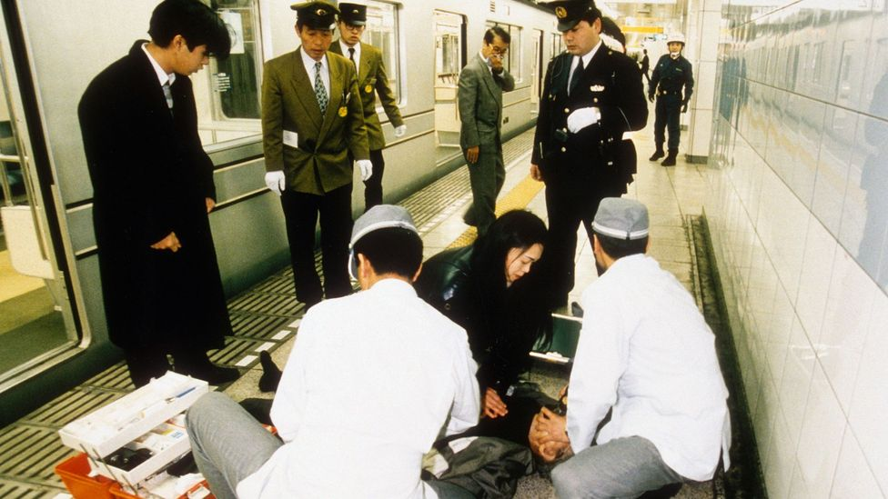 The 1995 sarin attack on Tokyo's subway brought the terrifying lethality of chemical weapons into a bustling city during rush hour (Credit: Getty Images)
