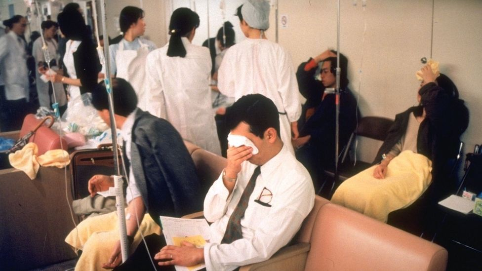The hospitals in Tokyo were overwhelmed with victims and people who feared they had been exposed to the gas in the hours after the sarin attacks in 1995 (Credit: Getty Images)