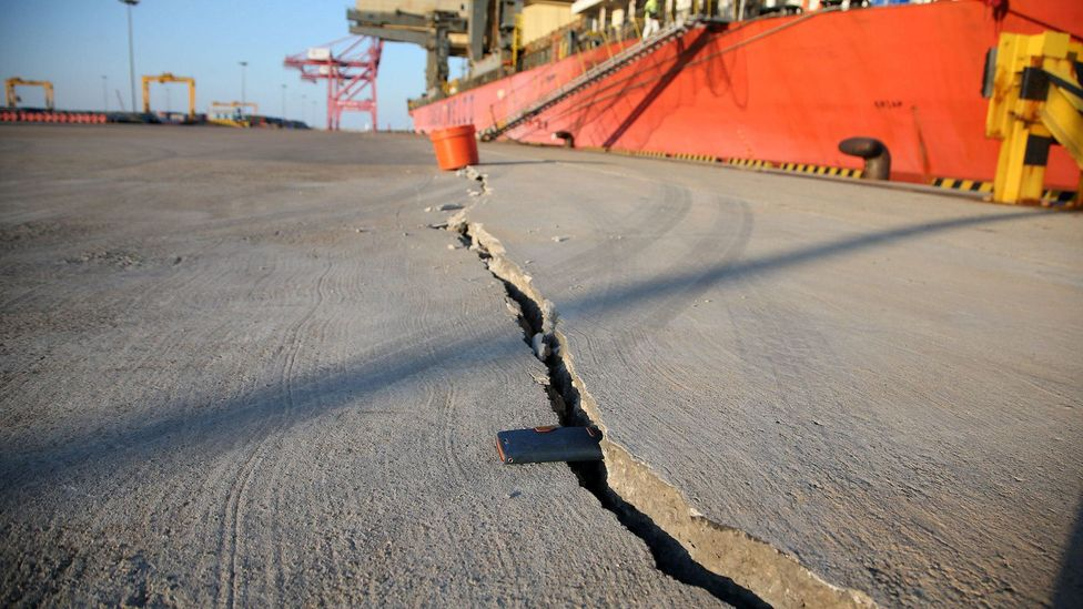 A crack in the pier at Pohang demonstrates the strength of the earthquake in November 2017, which injured more than 100 people (Credit: Alamy)