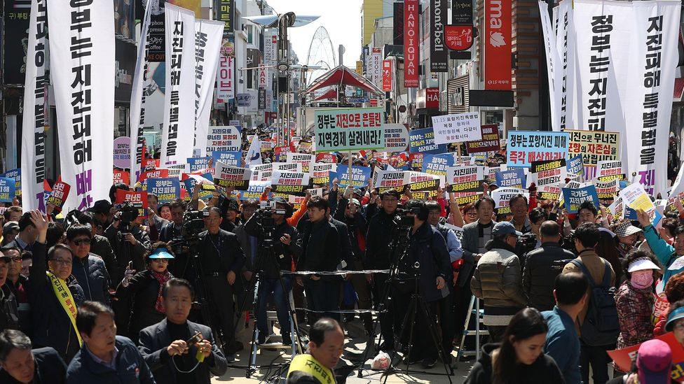 Protesters in Pohang are demanding compensation for the damage caused by the November 2017 earthquake (Credit: Alamy)