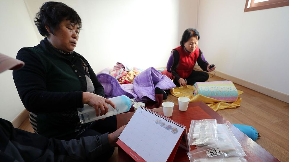 A family displaced by the earthquake in Pohang (Credit: Alamy)