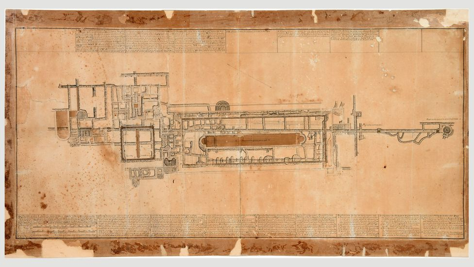 Excavation plan of the Villa dei Papiri, which remained concealed until the mid-18th Century (Credit: Getty Museum)