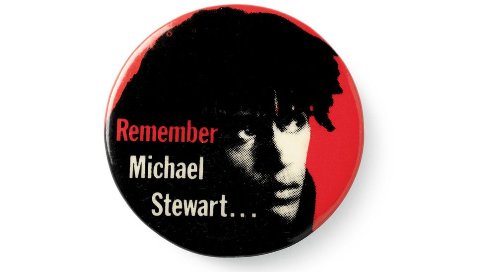 The movement to get justice for Michael Stewart involved many creatives, including Eric Drooker, who created this 'Remember Michael Stewart' badge. (Credit: Guggenheim Foundation)