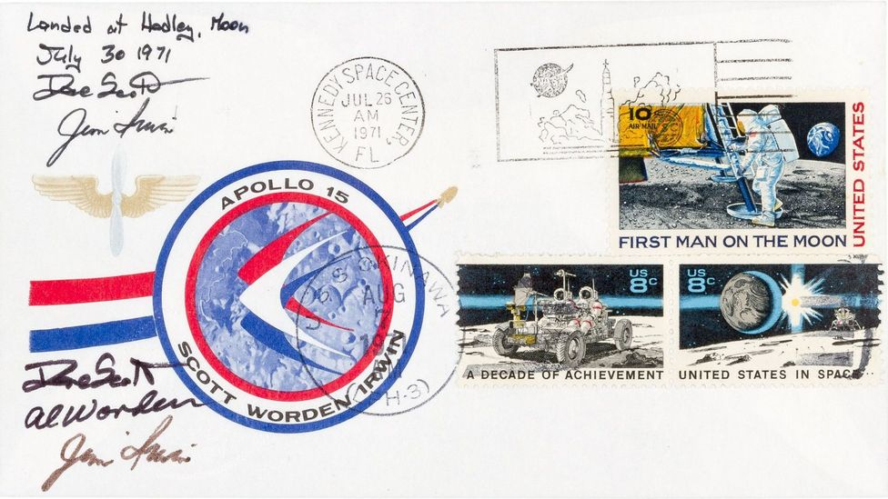 The selling of stamps that had been to the Moon caused a massive scandal that ended three astronauts' careers (Credit: Public Domain)