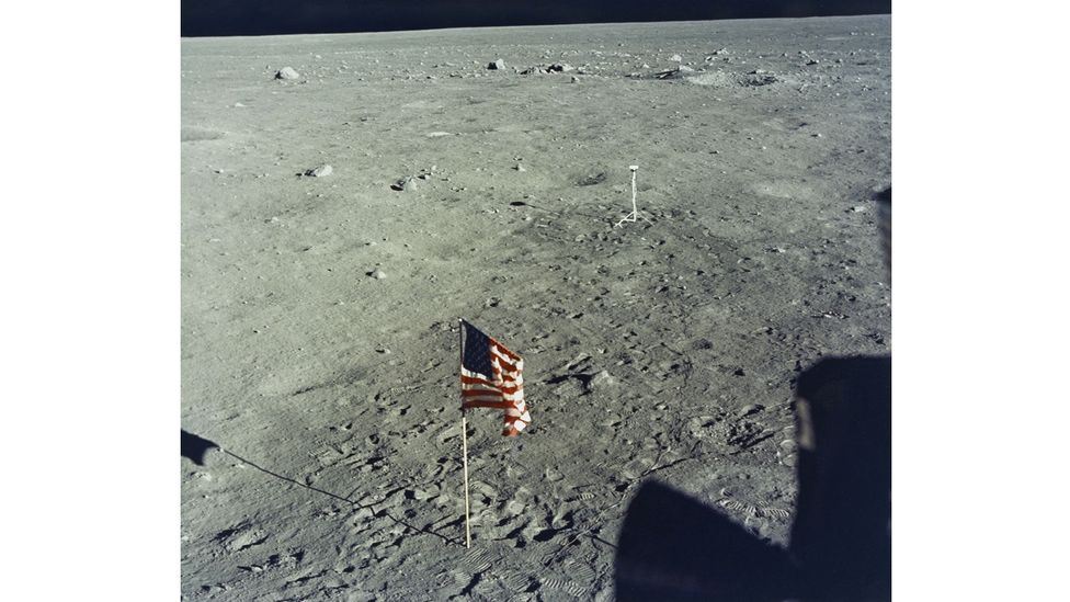 One of the flags the Apollo 11 crewmen planted was knocked down as the lunar module left the surface (Credit: Nasa/Getty Images)