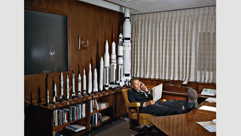 Space engineering pioneer Wernher von Braun (pictured in 1964) helped design Germany's V-2 rocket during World War Two, and was the chief architect of Apollo's Saturn V
