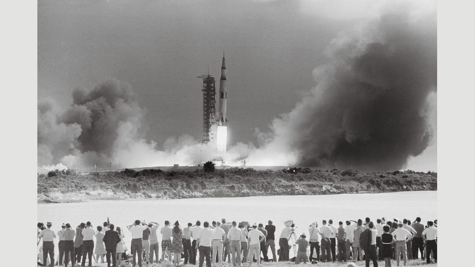 16 July, 1969: view of the Apollo 11 launch from the press area, Kennedy Space Center, Merritt Island, Florida