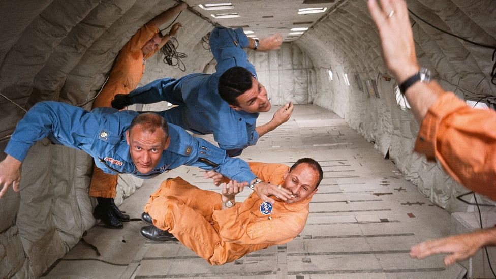 1964: new astronauts Ted Freeman, Buzz Aldrin (centre), and Charlie Bassett experience zero gravity in Nasa's KC135 aircraft – affectionately known as the Vomit Comet