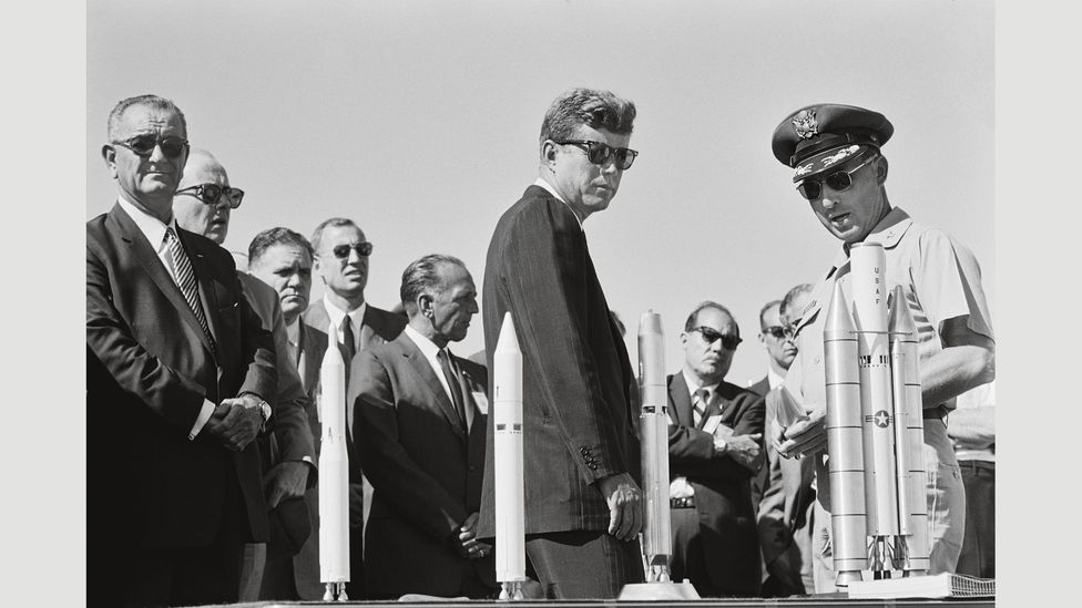 11 September, 1963: President John F Kennedy and Vice President Lyndon Johnson at the Redstone Arsenal in Huntsville, Alabama on a cross-country tour of American space facilities