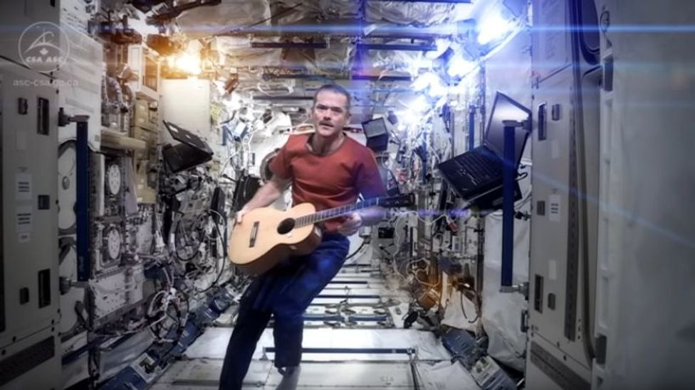 Astronaut Chris Hadfield's Space Oddity cover on board the International Space Station was the first music video shot in space (Credit: YouTube)