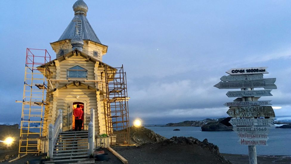A Russian church in Antarctica, where climate change is playing out (Credit: Getty Images)