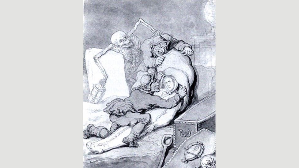 In the 19th Century, medical schools relied on body snatchers – such as those shown in Resurrection Men by Thomas Rowlandson – for supplies of cadavers (Credit: Alamy)