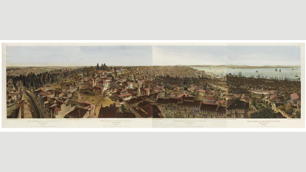 In April 1819, when he was writing Ode on Indolence, Keats visited a revolving painting known as the Panorama by Henry Aston Barker, who also made this one of Constantinople