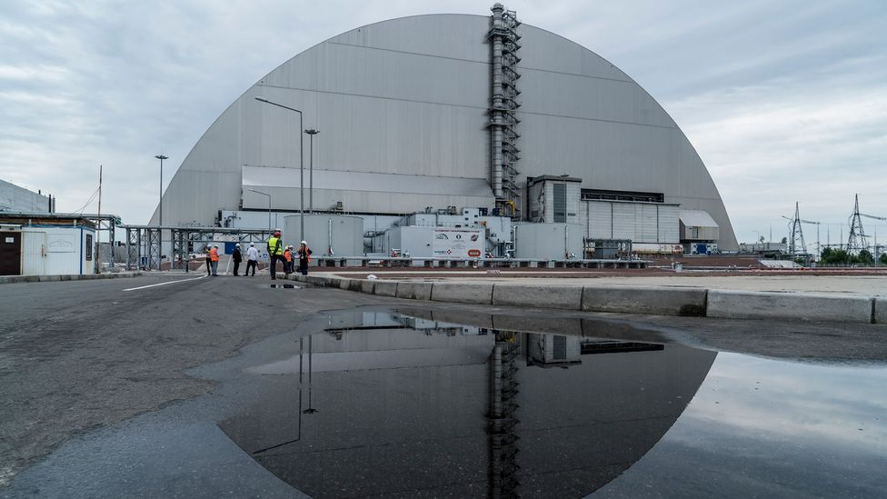 The remains of reactor number four at Chernobyl is now encased in an enormous protective sarcophagus (Credit: Getty Images)