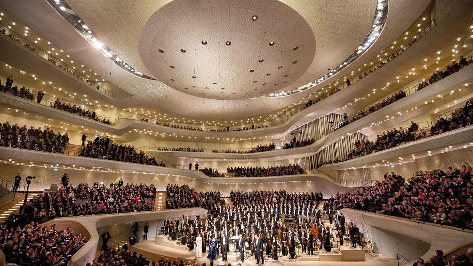 The Elbphilharmonie concert hall in Hamburg has a 'skin' designed with the help of algorithms to improve its acoustic characteristics (Credit: Getty Images)
