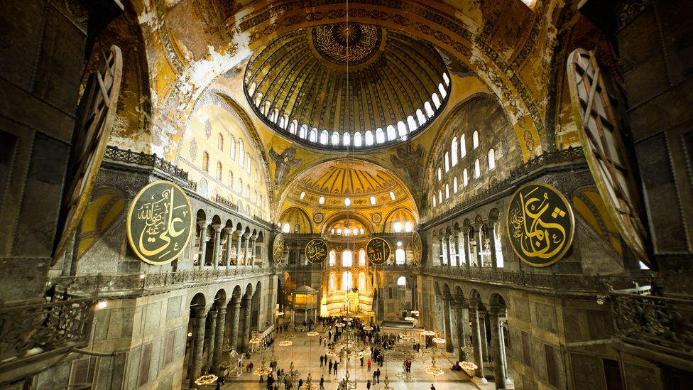 Human voices reflect off the marble floor and domed surfaces inside the Hagia Sophia to that can have a profound affect on those listening to it (Credit: Getty Images)