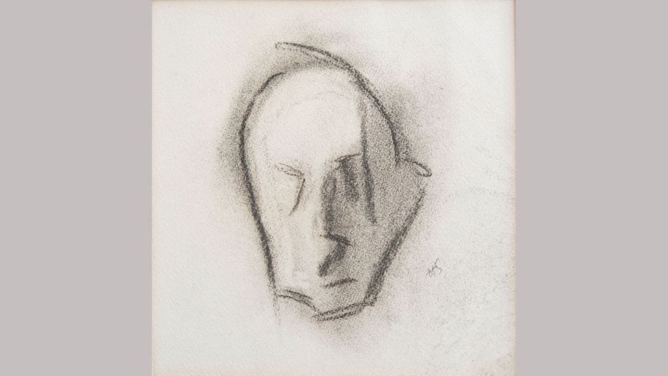 Helene Schjerfbeck – Last Self-portrait, c. 1945. This simple charcoal image is the last self-portrait by the artist