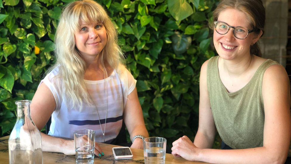 Pauliina Alanen (right) has tried both Silicon Valley and Finnish working styles – the Finns actually take their lunch breaks, she says (Credit: Maddy Savage)