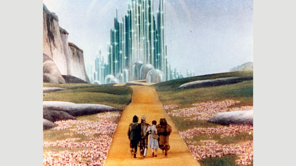 Oz in the film is a modernist mass of neon-striped skyscrapers that is blatantly artificial (Credit: Alamy)