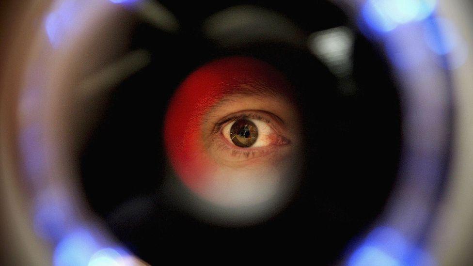 Eye looking at scanner