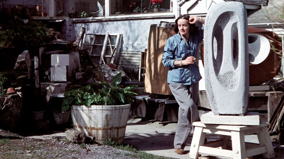 The bohemian St Ives artists' colony adopted the fisherman's smock, seen here on sculptor Barbara Hepworth (Credit: Getty Images)