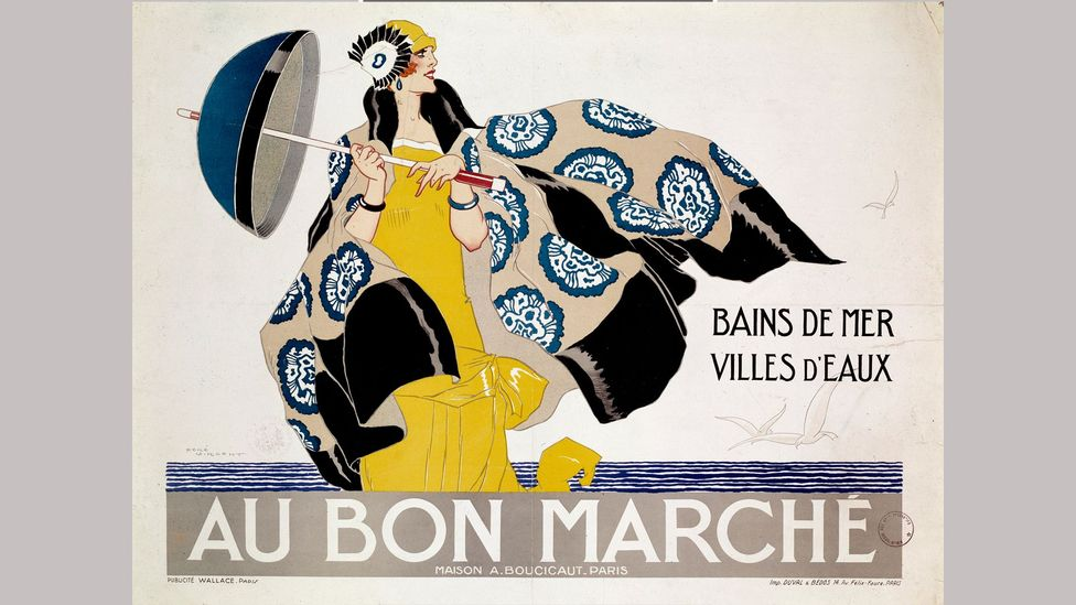 A French department store advertisement offers fashion for 'sea-swimming and spa towns' (Credit: Getty Images)