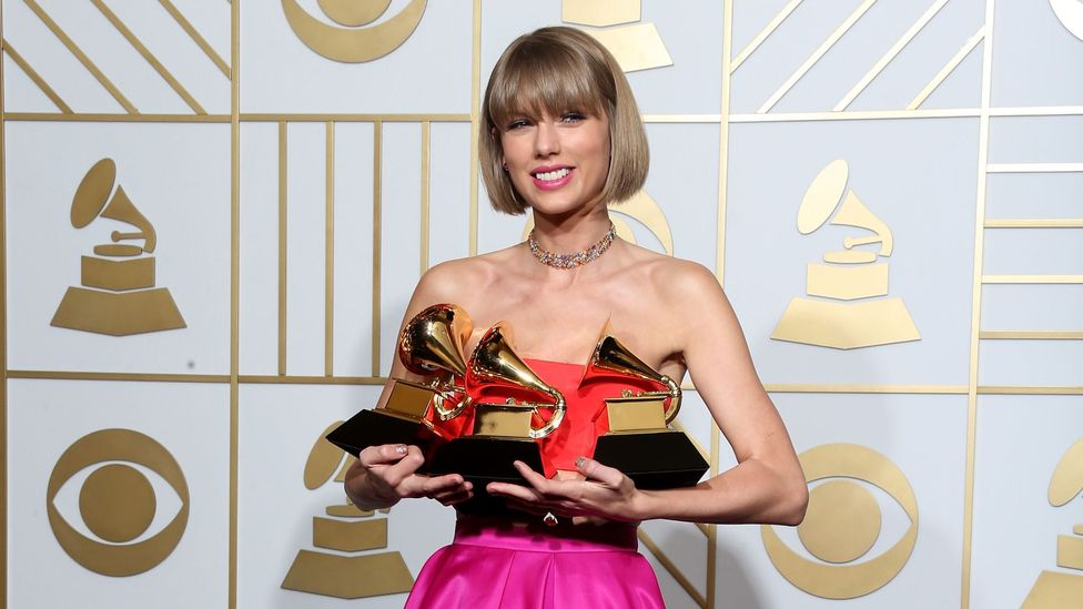 In 2015, Swift became only the fifth artist to win the prestigious album of the year Grammy Award twice (Credit: Getty Images)