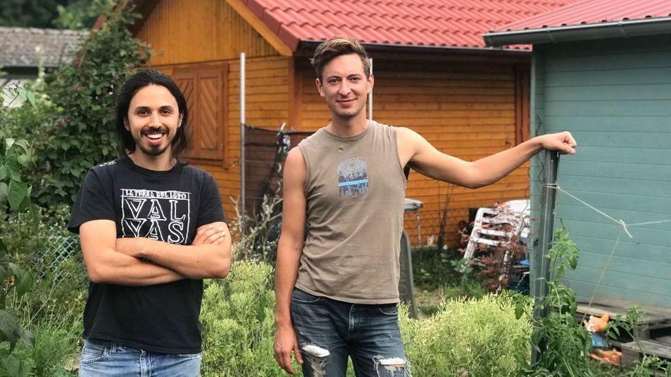 two men garden allotment Germany