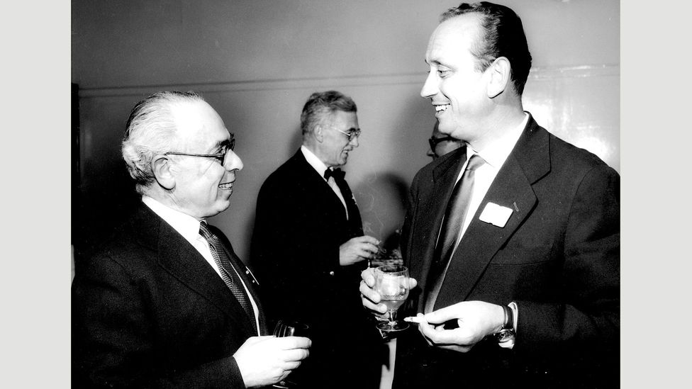 Austrian exile Robert Lucas (left) created satirical radio programmes for the BBC's German Service from 1940 (Credit: BBC)
