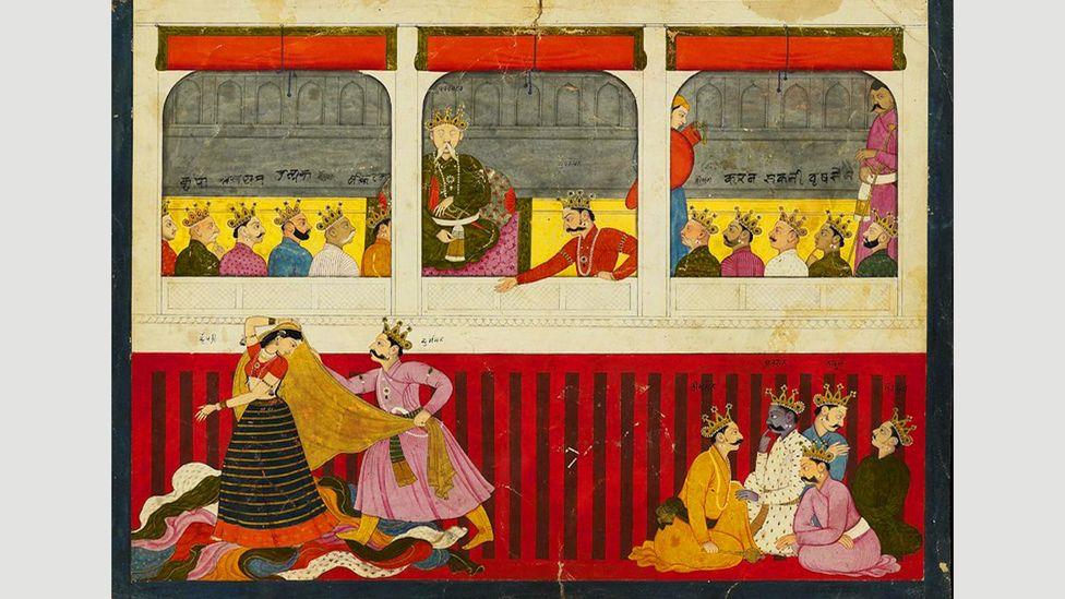 Mahabharata'daki önemli bir sahne, üzerinde kumar oynayan ve bir zar oyununda kaybolan Drapaudi'nin soyunmasıdır (Kredi: Alamy)