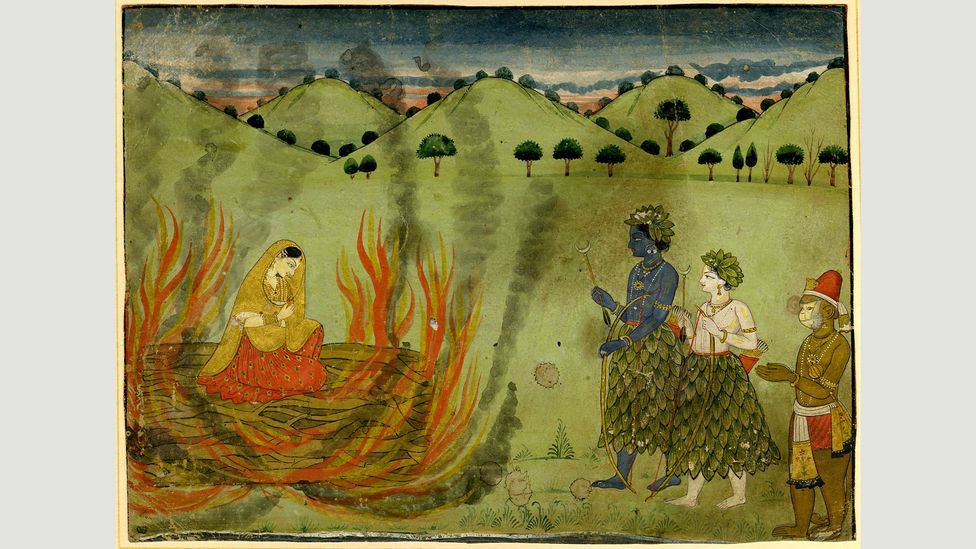 This scene from the Ramayana depicts Sita undergoing the ordeal by fire to test her chastity (Credit: British Museum)