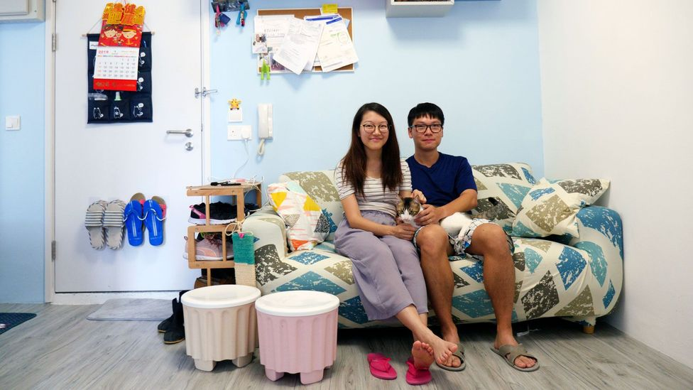 Kathy Tam, 28, and Louis Lee, 32, managed to secure public housing because Lee applied in 2012, years before they got married in 2017 (Credit: Megumi Lim)