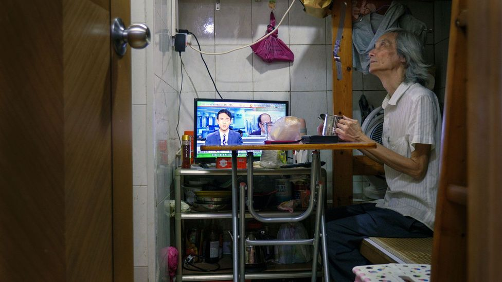 Ma Hoi-shing, 69, lives mostly separate from wife, Jin Guo Fei, 62. Ma's home, a 5.5-sq m flat, is challenging for Jin to live in due to health issues (Credit: Megumi Lim)
