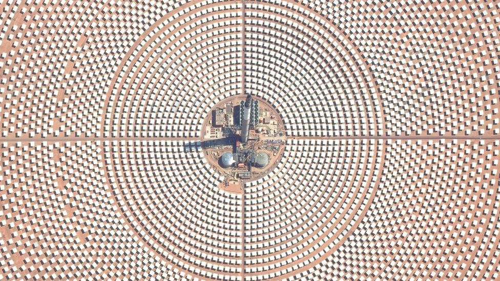 Ouarzazate Solar Power Station in Morocco covers about 25 sq km (9.6 sq miles) and contributes about 1/35th of the country's power needs (Credit: Getty Images)