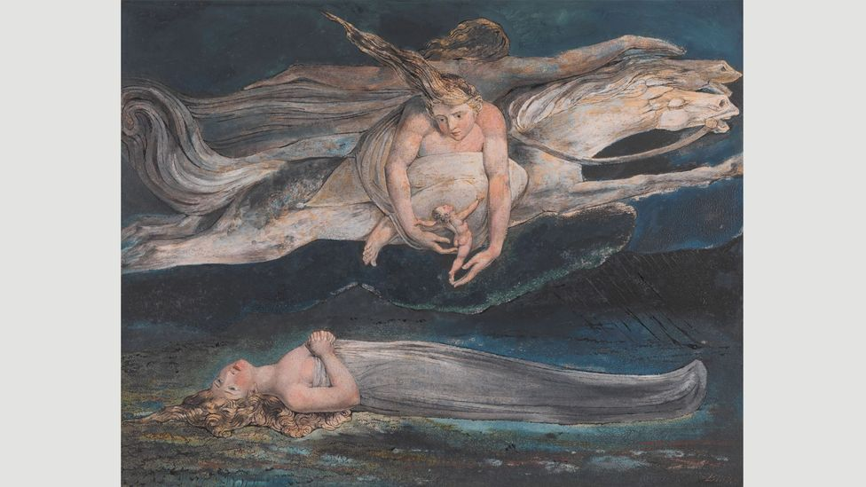 "Pity, 1795: ""In my brain are studies … filled with books and pictures of old which I wrote and painted … and those works are the delight and study of archangels,"" wrote Blake"