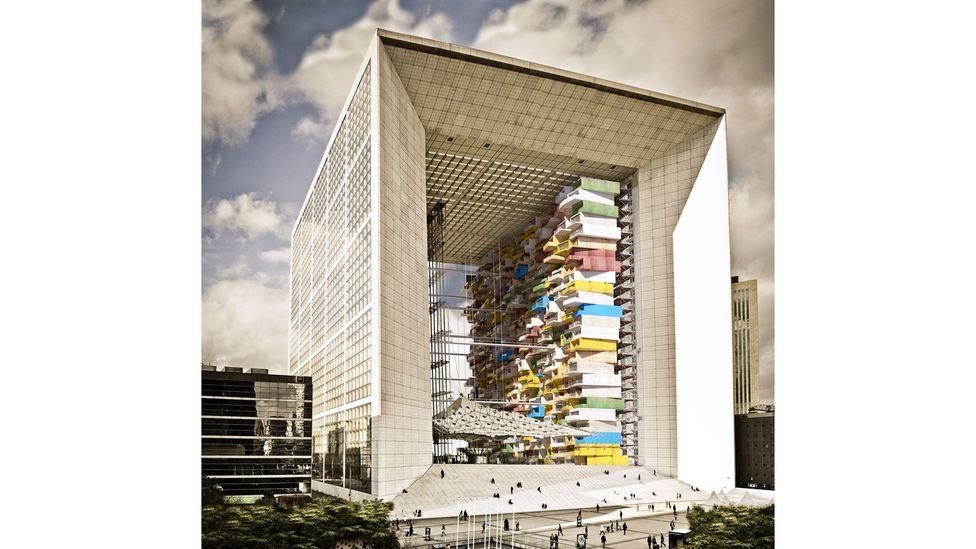 A parasitic project of modular units was imagined in Paris's La Grande Arche de La Défense (Credit: Studio Malka Architecture)